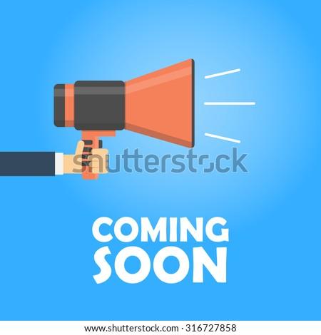 Coming soon vector banner. Announcement megaphone. Coming soon megaphone concept. Announce and sale template - stock vector