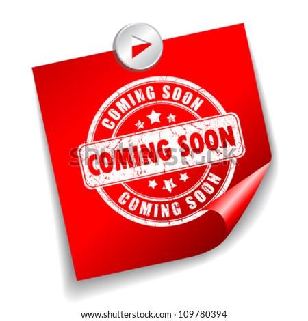 Coming soon vector sticker, eps10 illustration - stock vector