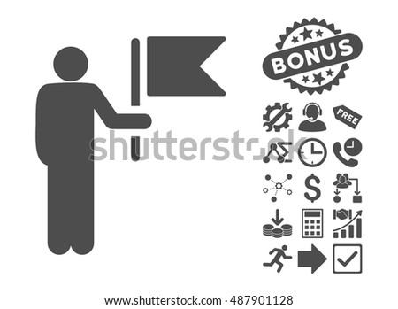 Commander With Flag icon with bonus images. Vector illustration style is flat iconic symbols, gray color, white background.