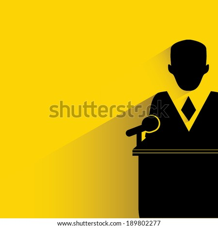 commencement speech, declaration symbol, yellow and shadow background
