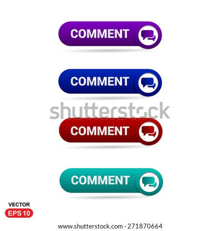 Comment dialog Icon Button. Abstract beautiful text button with icon. Purple Button, Blue Button, Red Button, Green Button, Turquoise button. web design element. Call to action gray icon button - stock vector