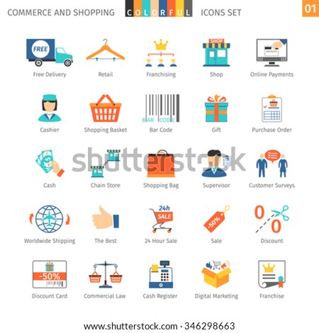 Commerce And Shopping Colorful Icons Set 01