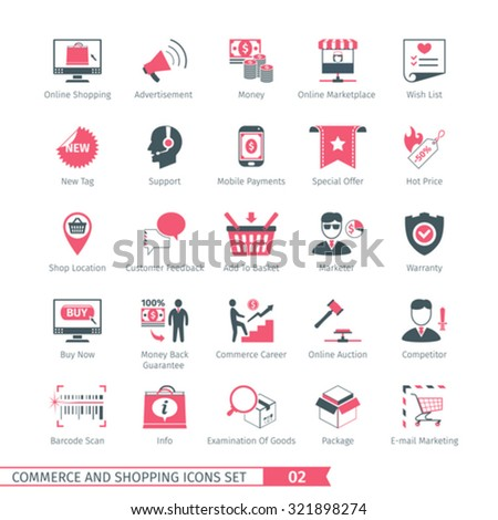 Commerce And Shopping Icons Set 02 - stock vector