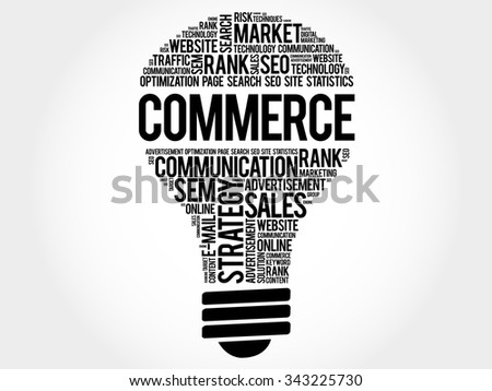 COMMERCE bulb word cloud, business concept - stock vector