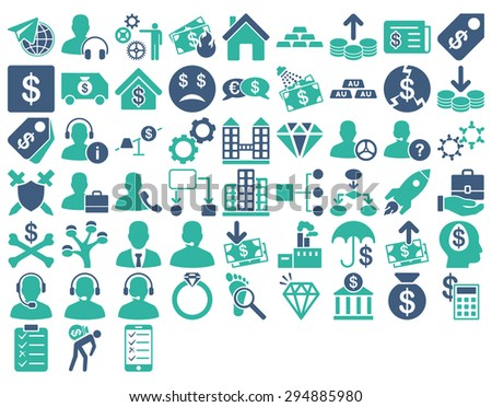 Commerce Icon Set. These flat bicolor icons use cobalt and cyan colors. Vector images are isolated on a white background.  - stock vector