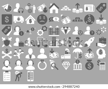 Commerce Icon Set. These flat bicolor icons use dark gray and white colors. Vector images are isolated on a silver background.  - stock vector