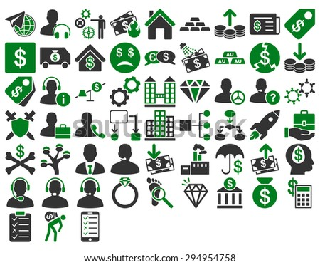 Commerce Icon Set. These flat bicolor icons use green and gray colors. Vector images are isolated on a white background.  - stock vector