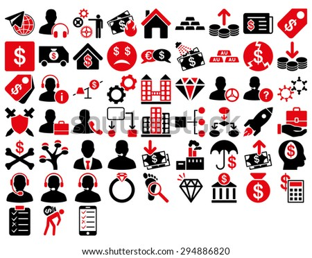 Commerce Icon Set. These flat bicolor icons use intensive red and black colors. Vector images are isolated on a white background.  - stock vector