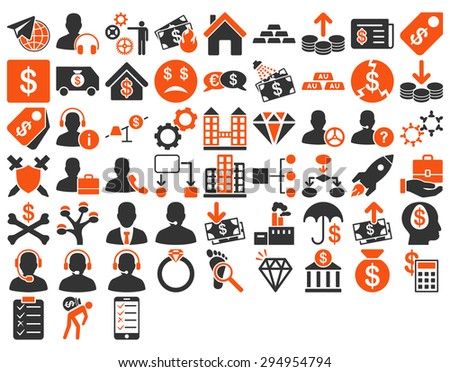 Commerce Icon Set. These flat bicolor icons use orange and gray colors. Vector images are isolated on a white background.  - stock vector