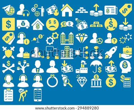Commerce Icon Set. These flat bicolor icons use yellow and white colors. Vector images are isolated on a blue background.  - stock vector