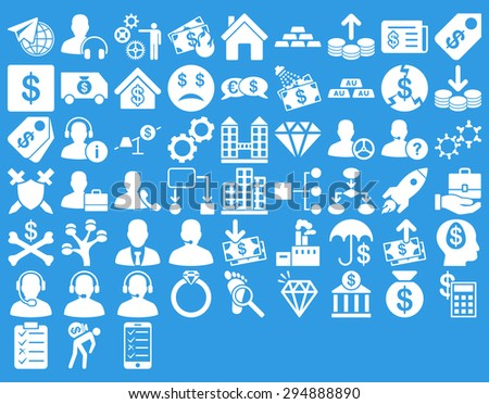 Commerce Icon Set. These flat icons use white color. Vector images are isolated on a blue background.  - stock vector