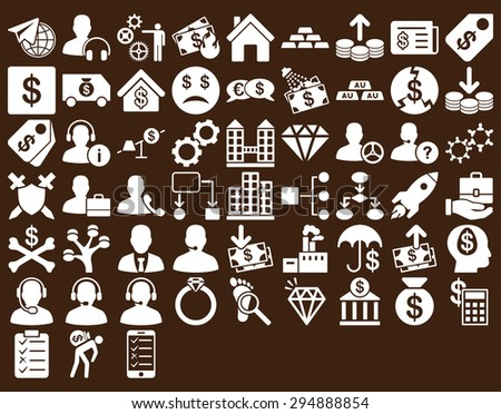 Commerce Icon Set. These flat icons use white color. Vector images are isolated on a brown background.  - stock vector