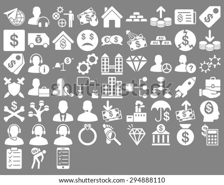 Commerce Icon Set. These flat icons use white color. Vector images are isolated on a gray background.  - stock vector