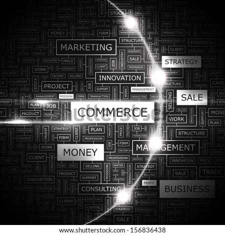 COMMERCE. Word cloud illustration. Tag cloud concept collage. Vector text illustration.