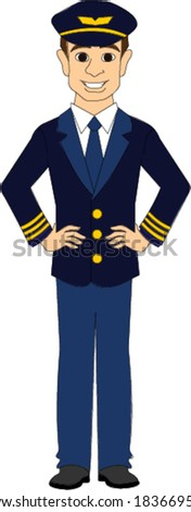 Commercial Airline Pilot  - stock vector