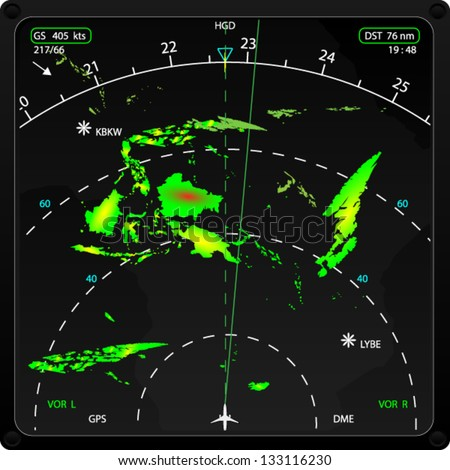 Commercial airplane's on board radar, displaying weather information, vector - stock vector