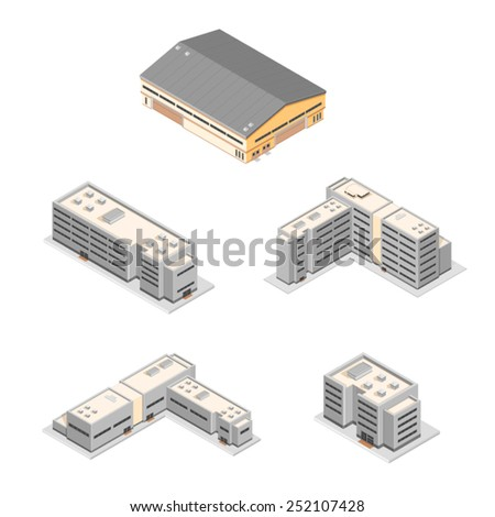Commercial and State buildings. Isometric Buildings. Various Large Buildings. - stock vector