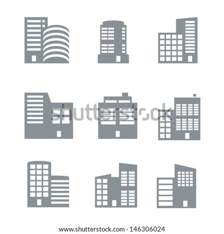 Commercial building icons  - stock vector