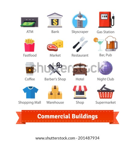 Commercial buildings colourful flat icon set. Business, commerce, food, fastfood, recreation and trading signs. For use with maps and internet services interfaces. EPS 10 vector. - stock vector
