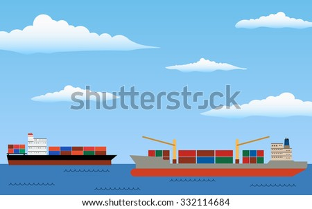 commercial container ships in the open sea and blue sky with cloud background (flat icon design vector)