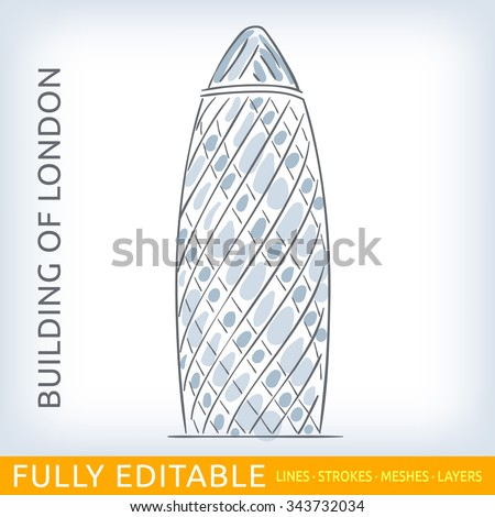 Commercial skyscraper St Mary Axe. Sketch line flat design of business architecture, famous building of London. Modern vector illustration concept. Fully editable outlines, saved brushes and layers. - stock vector
