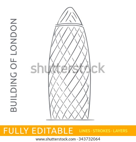 Commercial Skyscraper St Mary Axe Sketch Line Flat Design Of Business Architecture Famous Building