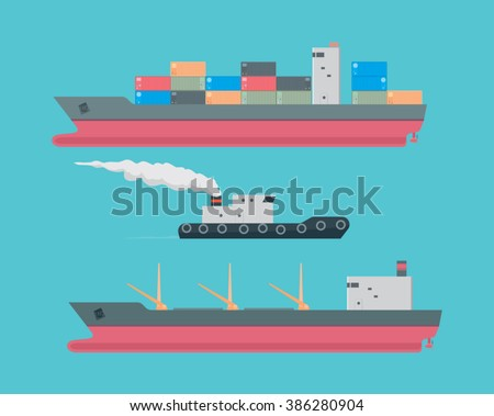 commercial vessel / cargo ship, container ship, tug boat on torquoise background / vector illustration, clear and simple design of modern commercial vessels - stock vector