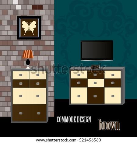 Commode Design Brown Icon Interior Room Furniture Symbol Vector Illustration