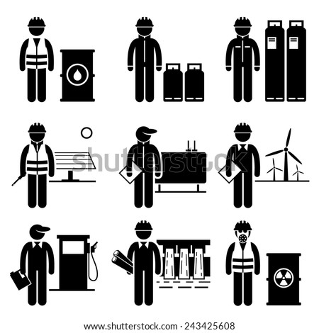 Commodities Energy Fuel Power Stick Figure Pictogram Icons - stock vector