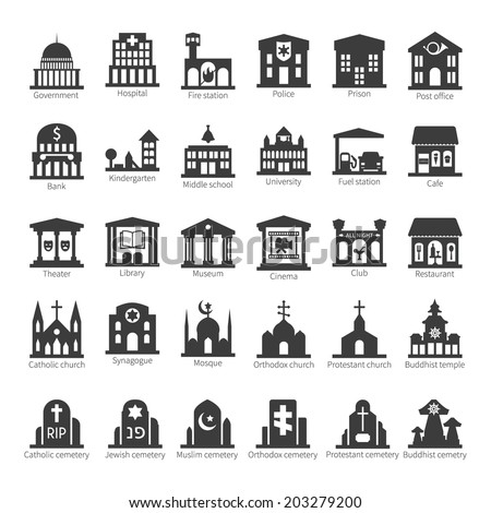 Common buildings and places like government police hospital church cafe bank restaurant theater cinema fuel station night club temple sinagogue cemetery vector icon set - stock vector