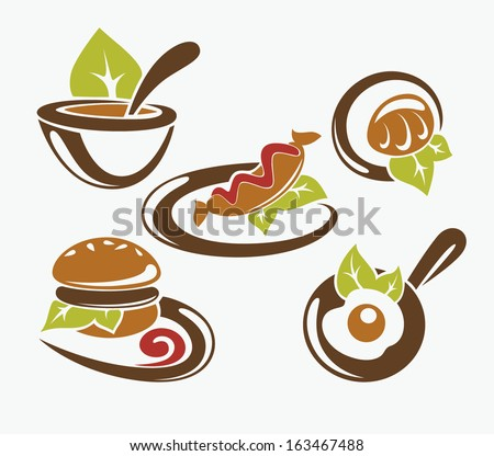 common fast food and everyday meal, vector collection - stock vector