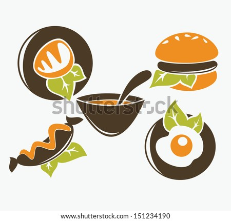 common fast food collection - stock vector