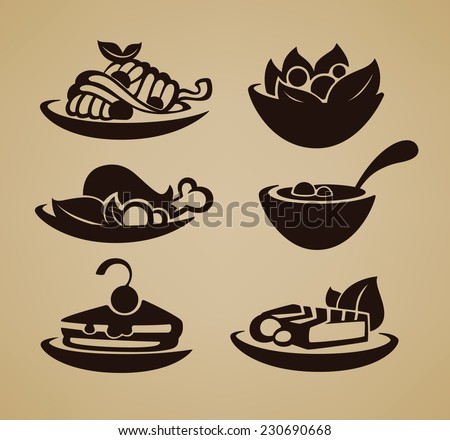common food and everyday meal, vector collection of symbols and emblems - stock vector