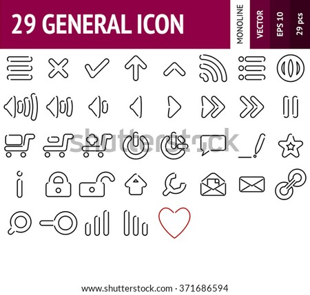 Common web UI icon. Sign with mail UI symbols. Outline Style.