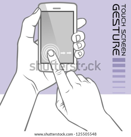 Commonly Used Touch Screen Gestures on Mobile Phone : Slide - stock vector