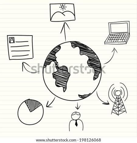communicate hand drawn illustration  - stock vector
