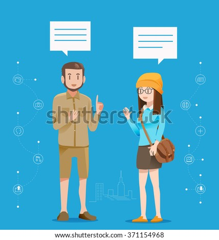 Communicate on a daily basis.Urban people are talking about social media.Greeting between friends.Exchange of ideas.The opinion of adolescents in the city.Graphic design and vector EPS 10. - stock vector