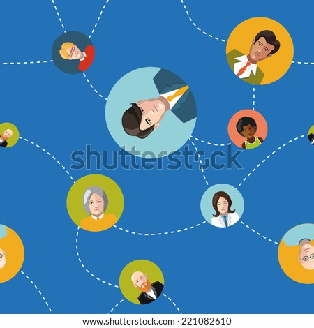 communicating people flat design seamless pattern - stock vector
