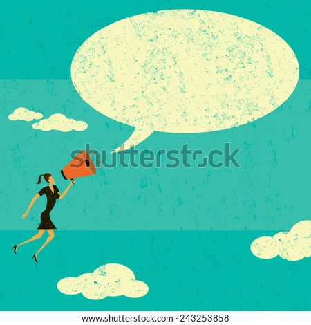 Communicating with a megaphone A businesswoman announcing a message into a speech bubble using a megaphone.  The woman & speech bubble and the background are on separate labeled layers. - stock vector