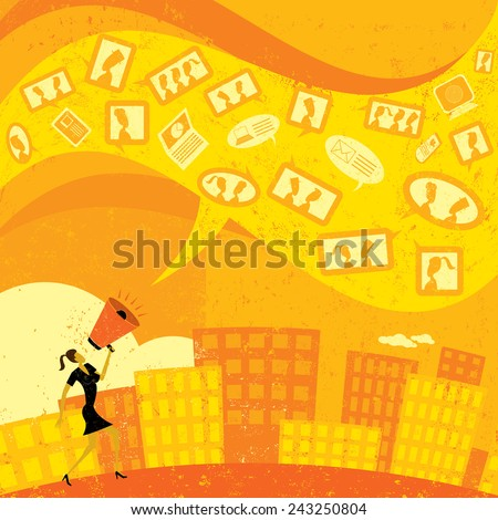 Communicating with Social Media A businesswoman shouting in a megaphone and communicating her message using social media. The woman and the background are on separate labeled layers. - stock vector