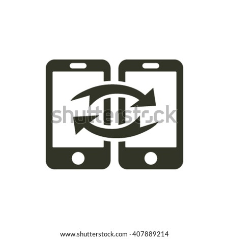 communication and data transfer between two mobile phones vector - stock vector