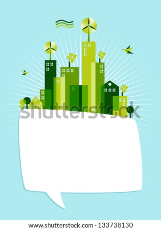 Communication and environment conservation concept illustration. Green city with social media speech bubble on blue sky background. Vector file layered for easy manipulation and custom coloring. - stock vector