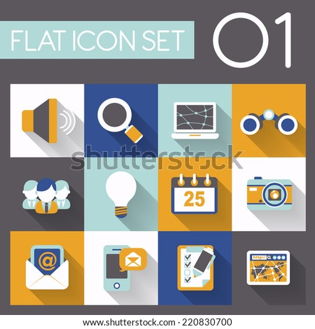 communication and internet icon set in flat design - stock vector