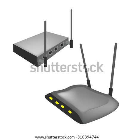 Communication and Mass Media, Illustration of Modern Wireless Internet Router with The Antenna Isolated on White Background. - stock vector