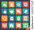 Communication and media  Flat icons for Web and Mobile App - stock photo