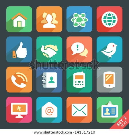 Communication and media  Flat icons for Web and Mobile App - stock vector