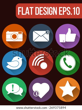 Communication and media Flat icons for Web and Mobile App. Vector social network icon set. Flat designs of camera, like, bird, telephone receiver, envelope, rss, star, heart and dialogue box. - stock vector