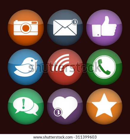 Communication and media Flat icons for Web and Mobile App. Vector social network icon set. Flat designs of camera, like, bird, telephone receiver, envelope, rss, star, heart and dialogue box.