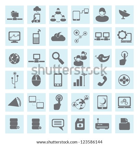 communication and network icon set - stock vector