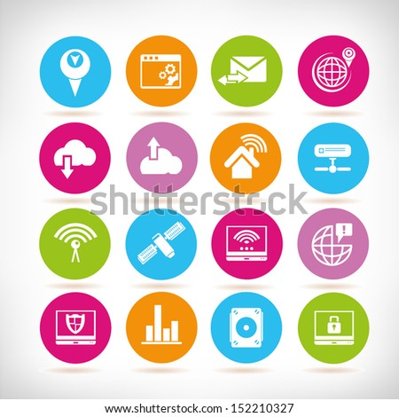 communication and network icons, round button set